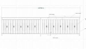 Rak staket sektion 40x40 stolpar 8mm över o under liggare långsidan