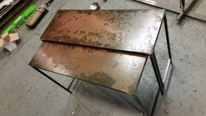 AVSLUTAD, Dubbla bord i rostad Corten plåt